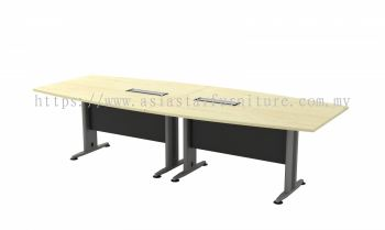 TBB 30 BOAT SHAPE MEETING TABLE WITH METAL MODESTY PANEL