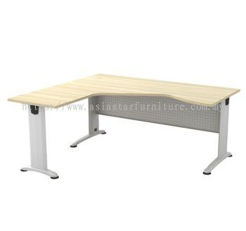 L-SHAPE PENTAGON TABLE METAL J-LEG C/W METAL MODESTY PANEL BL 44