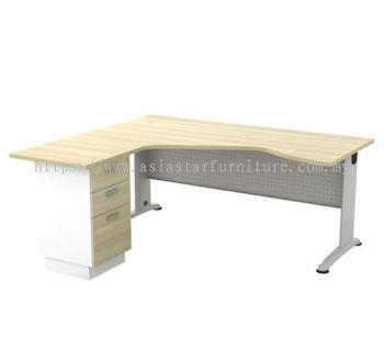 L-SHAPE PENTAGON TABLE C/W METAL MODESTY PANEL & FIXED PEDESTAL 3D BL 44-3D