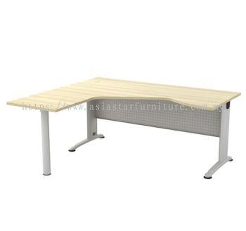 L-SHAPE PENTAGON TABLE C/W METAL MODESTY PANEL & METAL POLE LEG BL 44-M