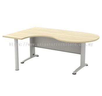 L-SHAPE ROUND END TABLE METAL J-LEG C/W METAL MODESTY PANEL & METAL POLE LEG BL 66-M