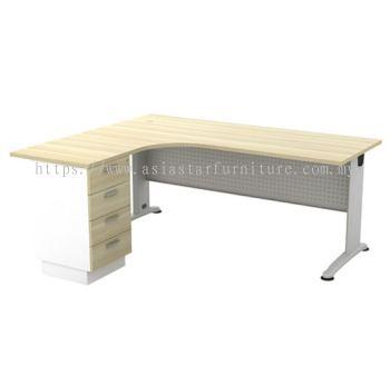 L-SHAPE TABLE C/W METAL MODESTY PANEL & FIXED PEDESTAL 4D BL 1515-4D
