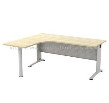 L-SHAPE TABLE C/W METAL MODESTY PANEL & METAL POLE LEG BL 1515-M