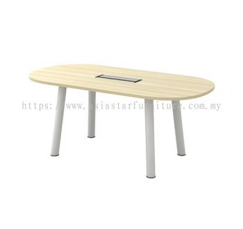 OVAL SHAPE MEETING TABLE C/W METAL POLE LEG (INCLUDED FLIPPER COVER) BOC 18