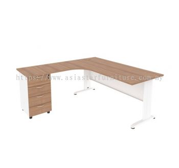 MJMD-8756 (L) L-SHAPE TABLE WITH FIXED PEDESTAL 4 DRAWER