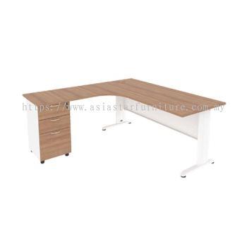 MJMF-8756 (L) L-SHAPE TABLE WITH FIXED PEDESTAL 2D1F