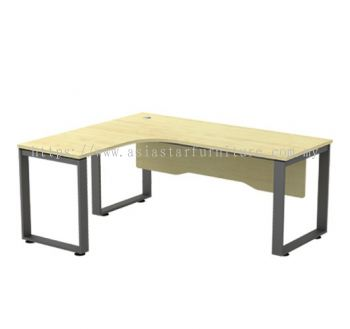 L-SHAPE TABLE METAL O-LEG C/W WOODEN MODESTY PANEL SQWL 1815