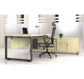 DIRECTOR TABLE METAL O-LEG C/W WOODEN MODESTY PANEL & SIDE CABINET Q-SRWE 2202 (TOP 41THK) SIDE