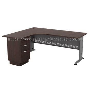 L-SHAPE TABLE METAL J-LEG C/W METAL MODESTY PANEL & FIXED PEDESTAL 3D QL 1515-3D(L)