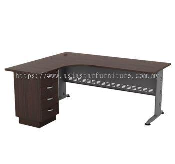 L-SHAPE TABLE METAL J-LEG C/W METAL MODESTY PANEL & FIXED PEDESTAL 4D QL 1515-4D(L)