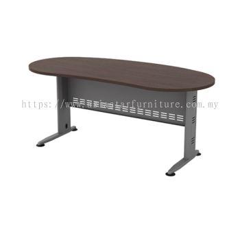 OVAL SHAPE WRITING TABLE METAL J-LEG C/W METAL MODESTY PANEL (W/O TEL CAP) QMB 33