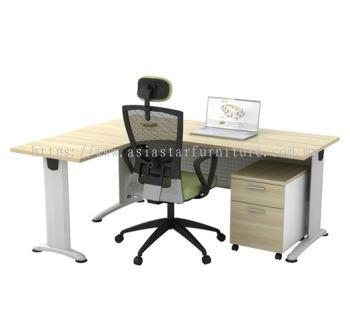 L-SHAPE TABLE METAL J-LEG C/W STEEL MODESTY PANEL & MOBILE PEDESTAL 3D BL 1815 + B-YM2 SET