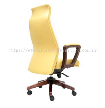AMBER DIRECTOR HIGH BACK CHAIR C/W RUBBER-WOOD WOODEN ROCKET BASE