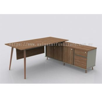 VISTA EXECUTIVE TABLE WOODEN LEG C/W SIDE CABINET