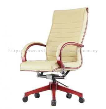 MAXIMO II (A) DIRECTOR HIGH BACK CHAIR C/W WOODEN ROCKET BASE