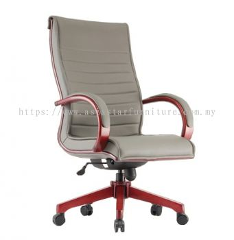 MAXIMO II (B) DIRECTOR HIGH BACK CHAIR C/W WOODEN ROCKET BASE