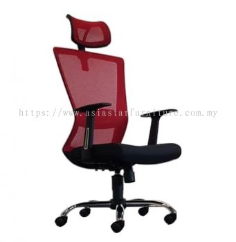 WILLY 1 HIGH BACK MESH CHAIR C/W CHROME METAL BASE & FIXED ARMREST