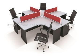 6' L SHAPE OFFICE TABLE COMBINE TO CLUSTER OF 4 WORKSTATION SET - L shape table set Puteri Puchong | L shape table set Puchong Jaya | L shape table set Glenmarie Shah Alam