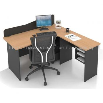 FOBIES 6' OFFICE TABLE WITH PARTITION BOARD C/W SIDE TABLE & RETURN RACK SET- office table Gombak | office table Setapak | office table Taman Melawati