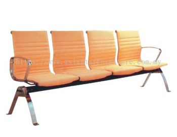 LEO FOUR SEATER LINK CHAIR UPHOLSTERY WITH CHROME BODY FRAME ACL 8400-(4)