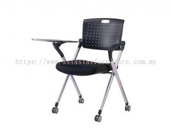 AEXIS 1 FOLDING CHAIR C/W CASTOR, ARMREST & TABLET ACL 337