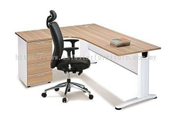 L-SHAPE TABLE METAL J-LEG WITH STEEL MODESTY PANEL & FIXED PEDESTAL 4D BL1815D (INNER)