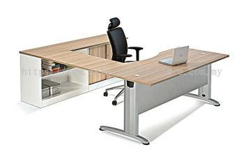 L-SHAPE CURVE TABLE METAL J-LEG C/W STEEL MODESTY PANEL & LOW CABINET SET BMB 11