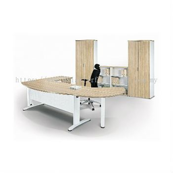 EXECUTIVE TABLE D-SHAPE METAL J-LEG C/W STEEL MODESTAY WITH SIDE CABINET & SIDE DISCUSSION TABLE BMB 55 FULL SET