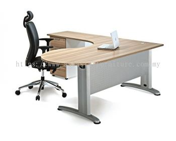 L-SHAPE ROUND END TABLE METAL J-LEG C/W STEEL MODESTY PANEL & FIXED PEDESTAL 4D BMB66