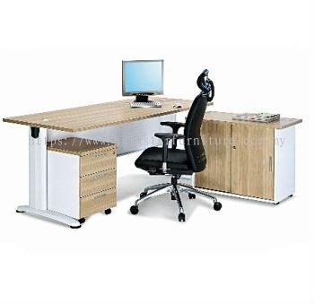RECTANGULAR WRITING TABLE METAL J-LEG C/W STEEL MODESTY PANEL WITH SIDE CABINET & MOBILE PEDESTAL 3D SET BT188 (INNER)