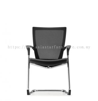 MAXIM VISITOR MESH BACK CHAIR C/W CHROME CANTILEVER BASE (LEATHER) AMX 8113L