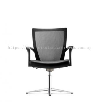 MAXIM VISITOR MESH BACK CHAIR C/W 4 PRONGED BASE (LEATHER) AMX 8113L