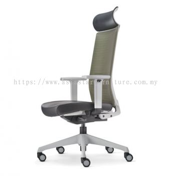 SURFACE HIGH BACK MESH CHAIR C/W ROCKET NYLON BASE GREY (LEATHER)  ASF 8410L