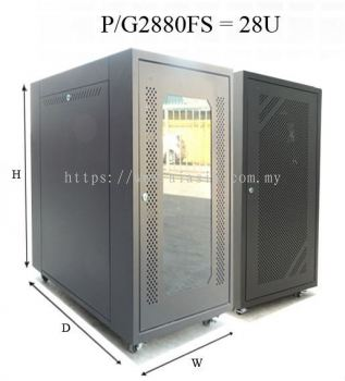 P2880FS/G2880FS. GrowV 28U Floor Stand Rack (PERFORATED / TEMPERED GLASS DOOR)