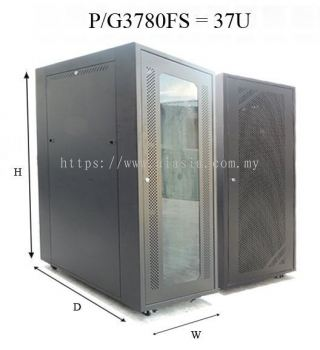 P3780FS/G3780FS. GrowV 37U Floor Stand Rack (PERFORATED / TEMPERED GLASS DOOR)