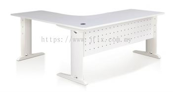 L-shaped Table with Modesty Panel & Laven Leg