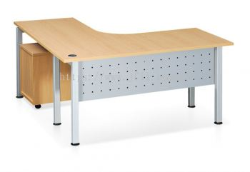L-shaped Table with Modesty Panel & Rumex Leg