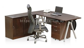 Executive D-shaped Table with Modesty Panel, Aster Leg & Credenza Side Return