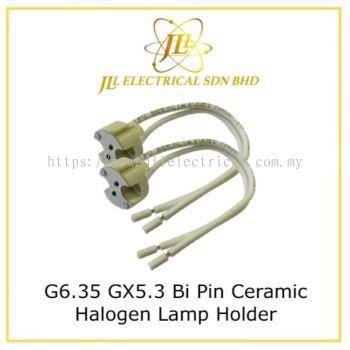 G6.35 GX5.3 Bi Pin Ceramic Halogen Lamp Holder Up To 24v 250w Light Bulb