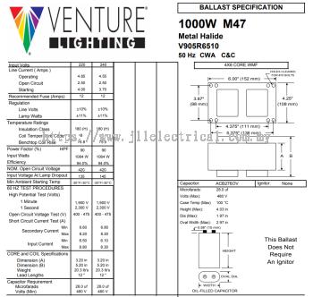 VENTURE V905R6510C 1000W CWA AUTOTRANSFORMER CORE BALLAST 50HZ C/W 28UF CAPACITOR