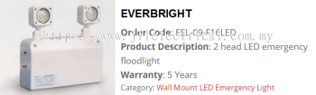 EVERBRIGHT EEL-09-F16LED 2HEAD LED WALL fFLOODLIGHT TYPE
