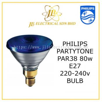 Philips Par38 Partytone Blue 80w E27 220-240v FL Lamp/bulb