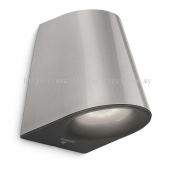 PHILIPS Virga SILVER LED Outdoor Modern Down Wall Light 17287