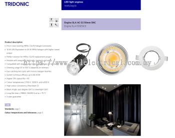 TRIDONIC SLA AC 230V pc G2 50mm 700lm 927/930/940 24D OR 36D SNC LED MODULE MR16 HIGH LUMEN