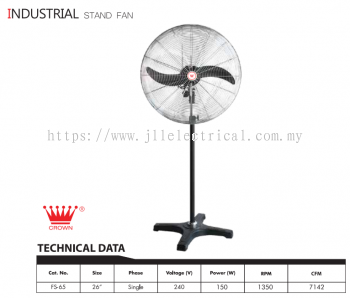 "CROWN INDUSTRIAL FAN, FS65 26"" INDUSTRIAL STAND FAN"