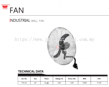 "CROWN INDUSTRIAL FAN, FW65 26"" INDUSTRIAL WALL FAN"