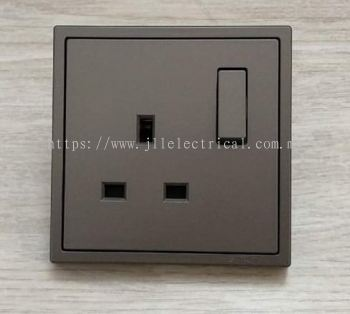 SIMON 701382 13A 1GANG FLAT PIN SWITCHED SOCKET OUTLET (GRAPHITE BLACK)