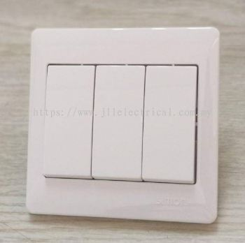 SIMON 51031B 10A 3GANG 1WAY SWITCH FULL WHITE
