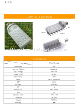 JL LED HALF CORN BULB 30W 3000K E40 TO REPLACE SON LAMPS STREET LANTERN