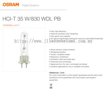 OSRAM HCI-T 35W/830 WDL PB G12 WARM WHITE 3000k